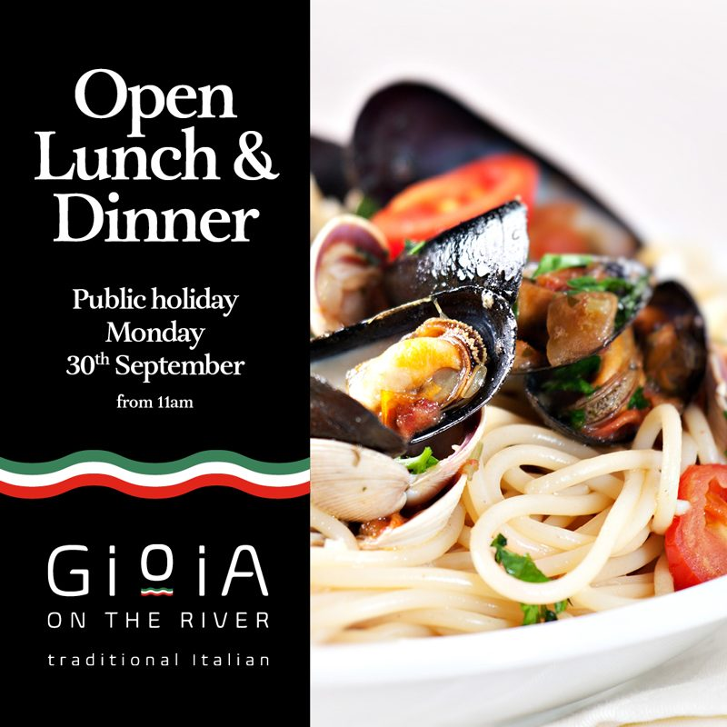 Gioia - Open public holiday Monday 30th September